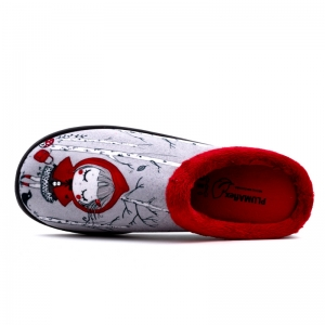 zapatillas de casa Caperucita Roja con ribeteado de pelo rojo